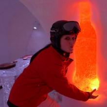 Dekoration aus Eis mit indirekter Beleuchtung