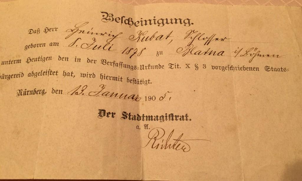 110 Jahre alte Einbürgerungsurkunde