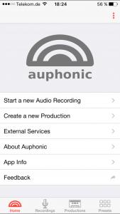 Startbildschirm der Auphonic-App