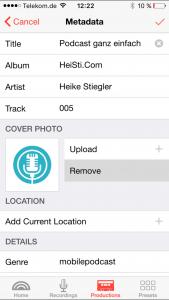 Titelbild direkt über die App hochladen